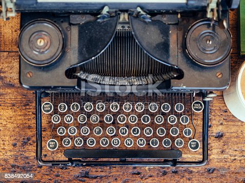 istock Vintage Typewriter on wooden table Top view 838492054