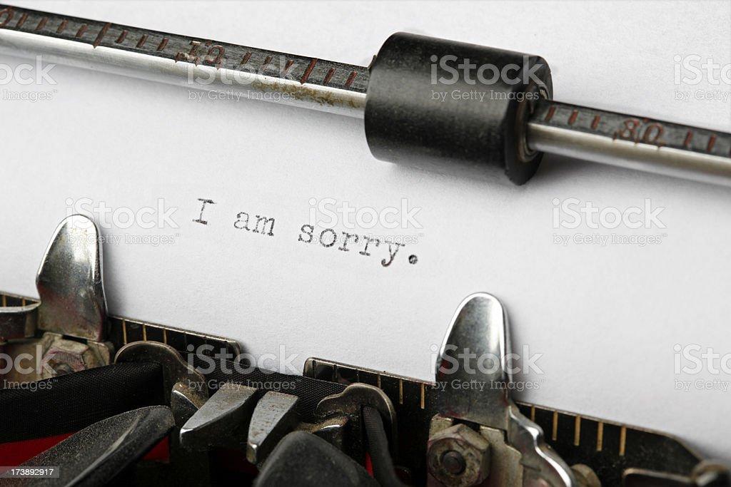 Vintage Typewriter Sentence: I am sorry. stock photo
