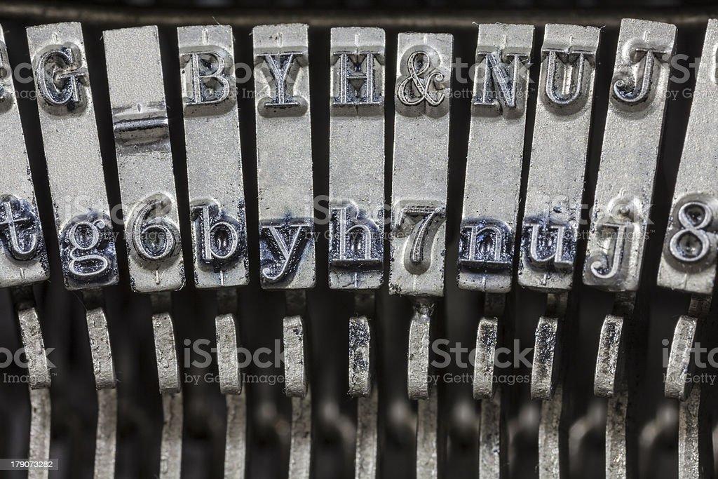 Vintage Typewriter Typebars Extreme Macro royalty-free stock photo