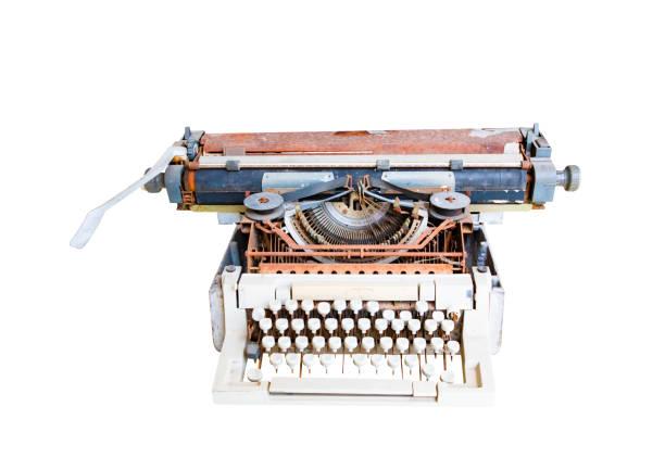 vintage schreibmaschine mit rusty. technologie-antik isoliert auf weißem hintergrund und clipping-pfad - druck chiffon stock-fotos und bilder