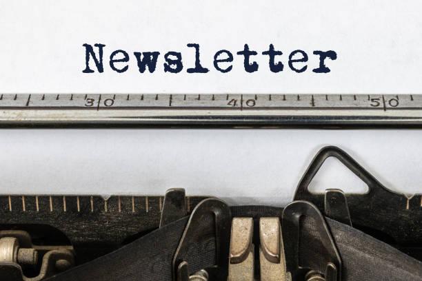 Vintage typewriter with word newsletter stock photo