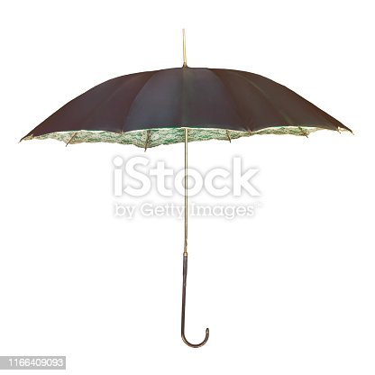 Vintage umbrella with romantic inner flower decoration isolated on a white background