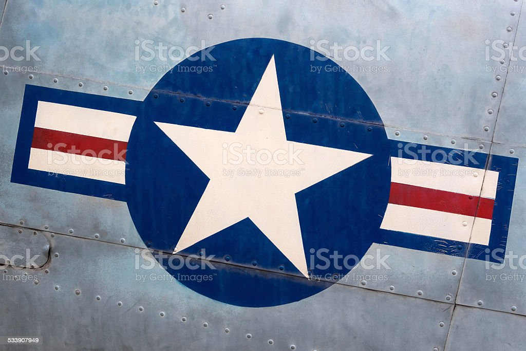 Vintage United States Air Force Sign on Military Airplane stock photo