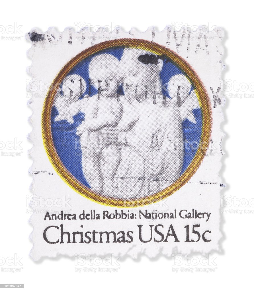 Vintage US Christmas stamp royalty-free stock photo