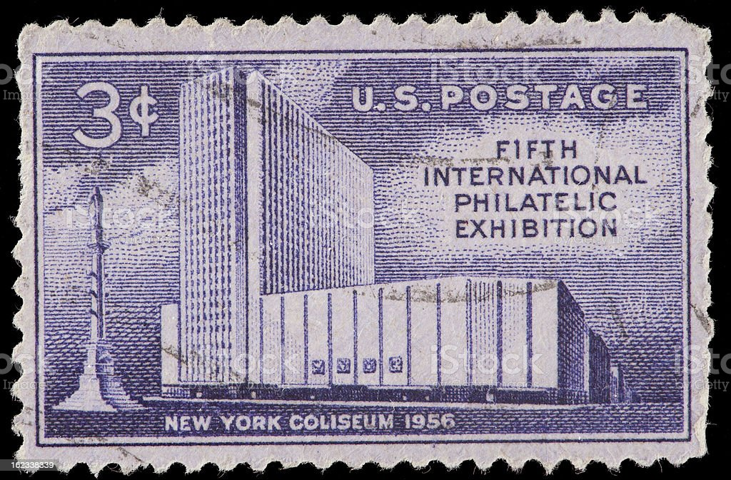Vintage US Postage Stamp Commemorating Fifth International Philatelic Exhibition stock photo