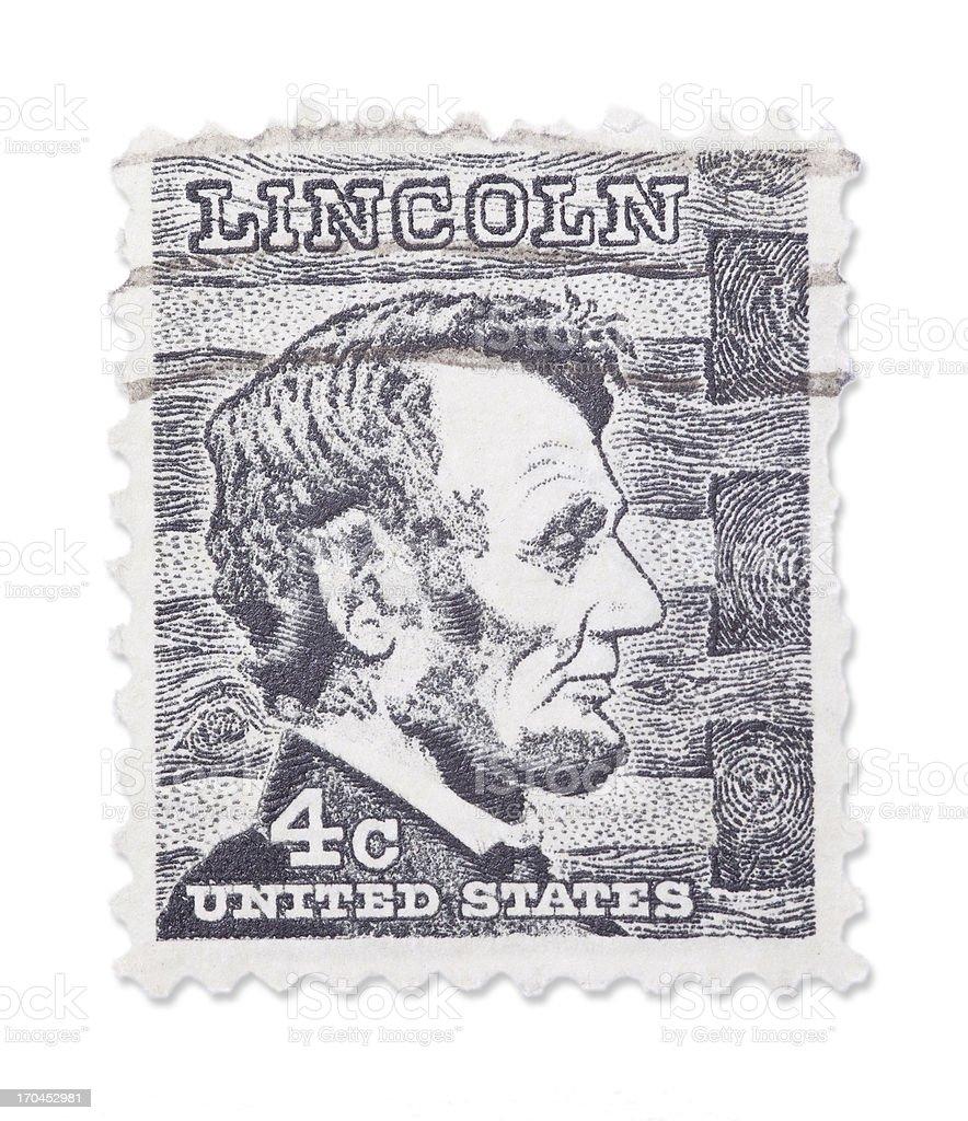 Vintage US stamp - Abraham Lincoln stock photo