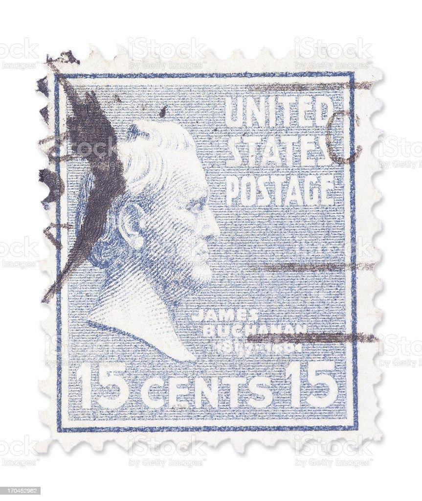 Vintage US stamp - James Buchanan stock photo