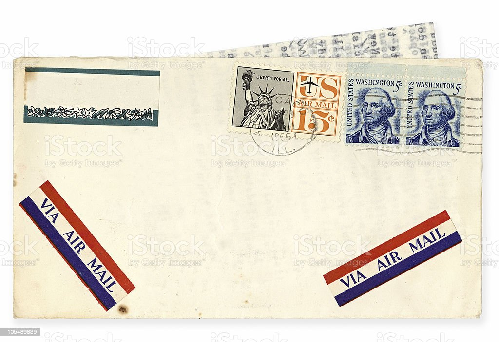 Vintage USA Airmail Envelope royalty-free stock photo
