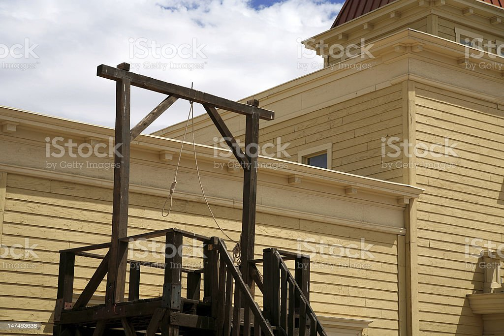 vintage USA gallows in wild west stock photo