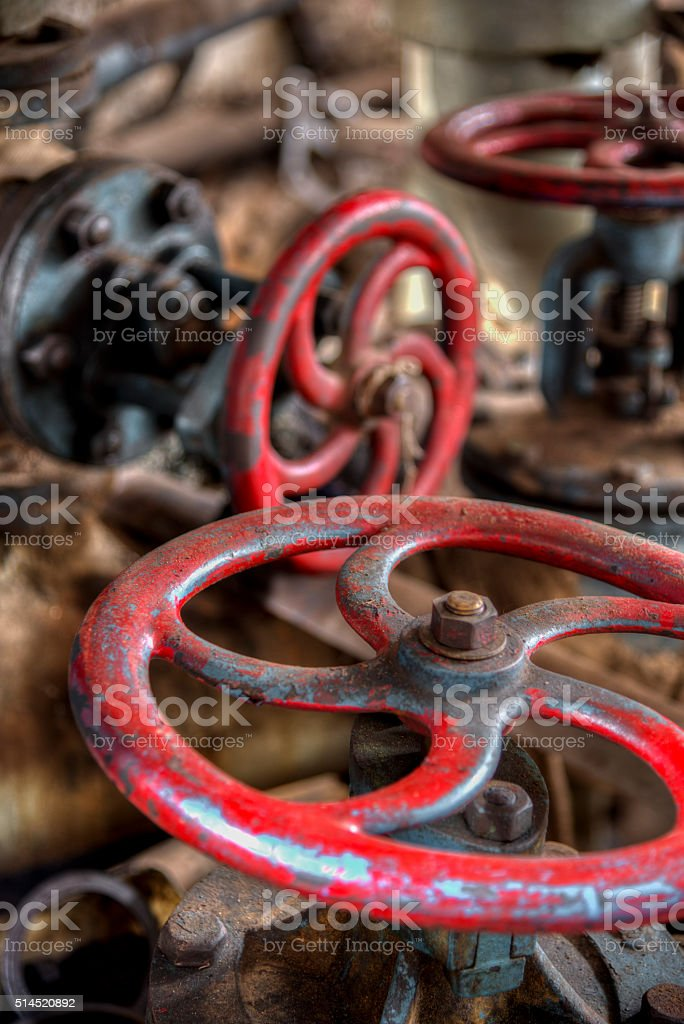 Vintage valve in heavy industry  factory stock photo