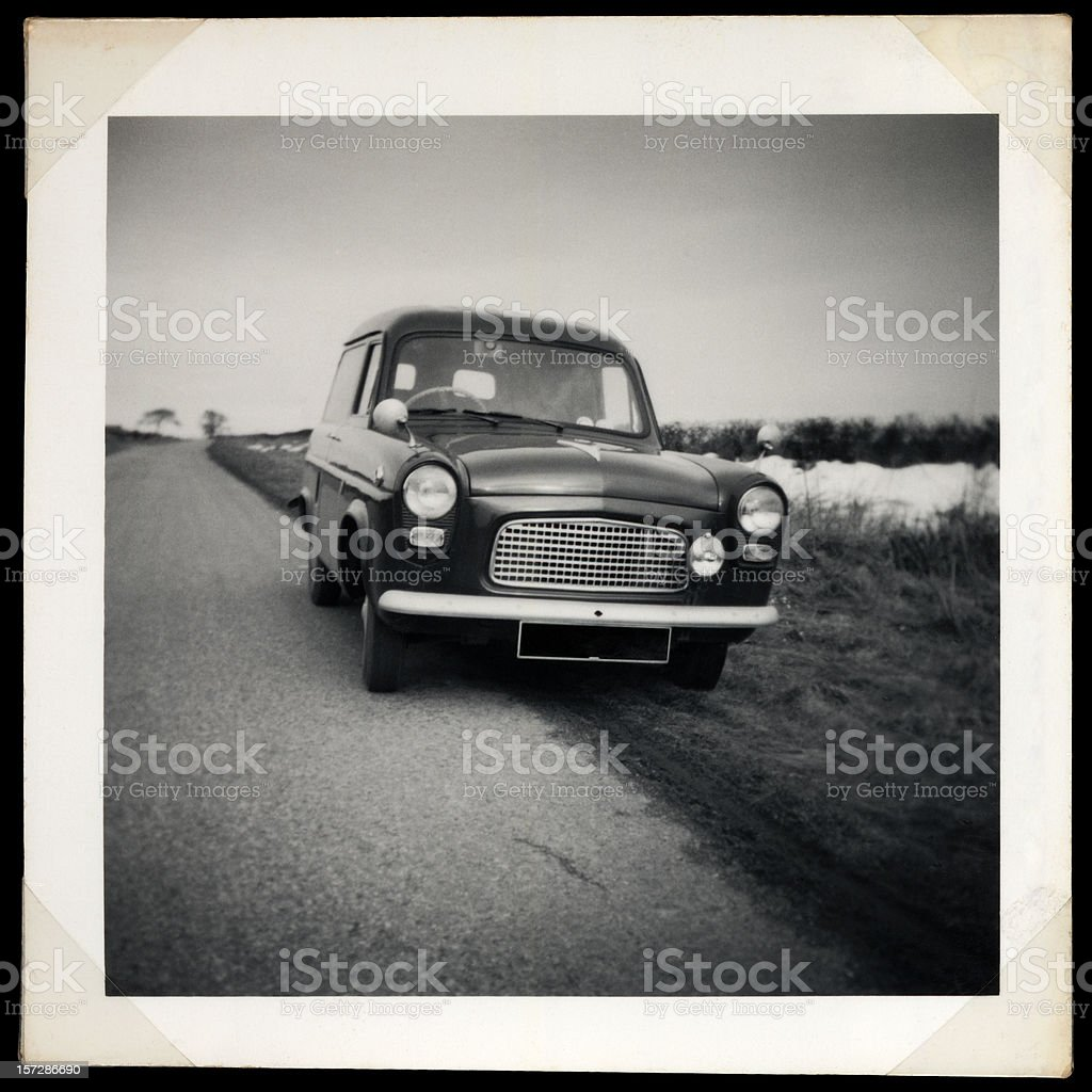 vintage van and frame royalty-free stock photo