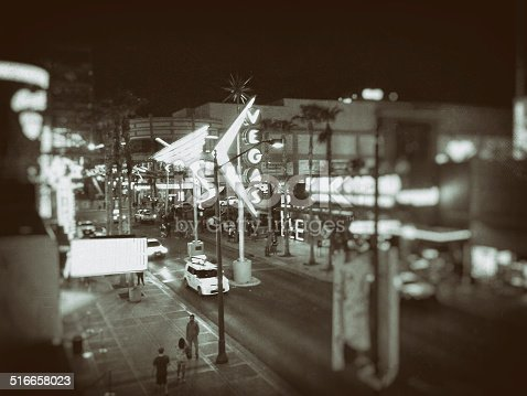 Monochromatic mobile photo of downtown Las Vegas, treated for vintage effect.