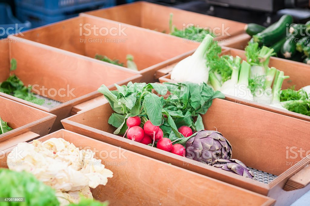 Vintage vegetable market stall stock photo