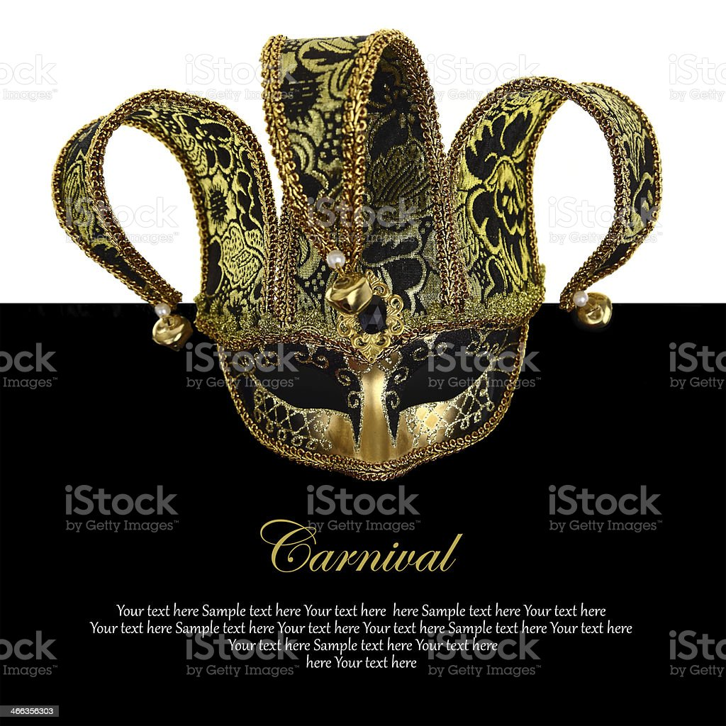 Vintage venetian carnival mask with copy-space stock photo