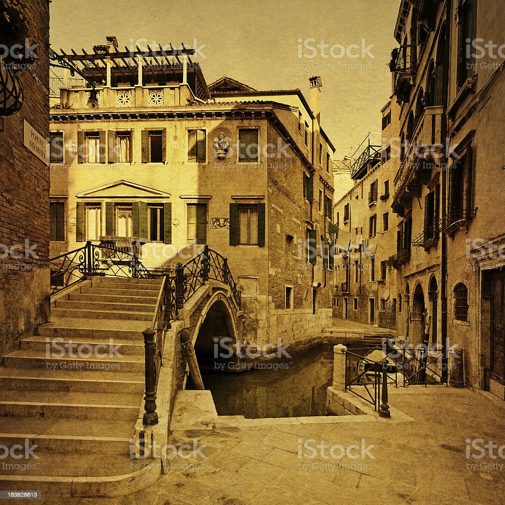 Vintage Venice - aged photo of a Venetian canal royalty-free stock photo