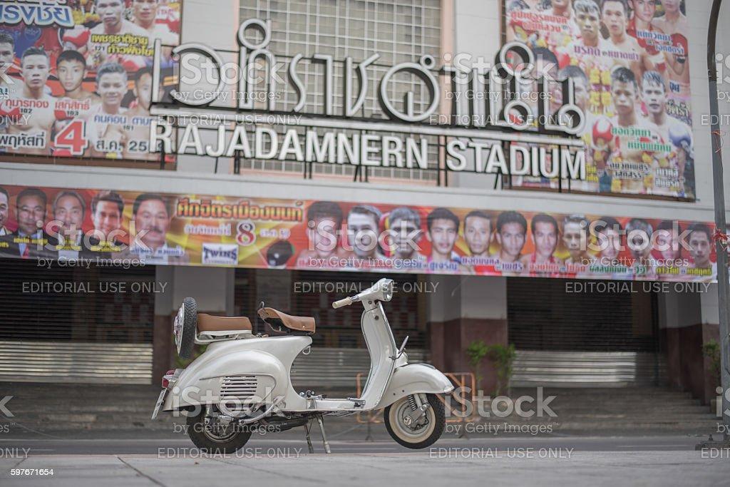 vintage vespa scooter motorcycle stock photo