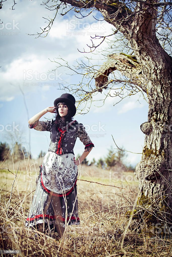 Vintage Victorian Dress Young Woman royalty-free stock photo