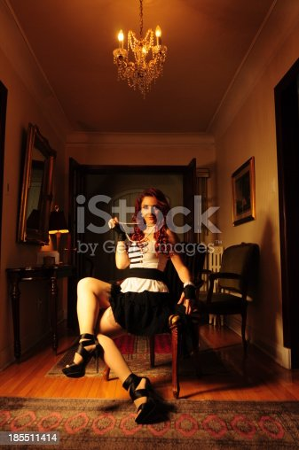 861629426 istock photo Vintage victorian glamour lady with curly red hair wearing gloves 185511414