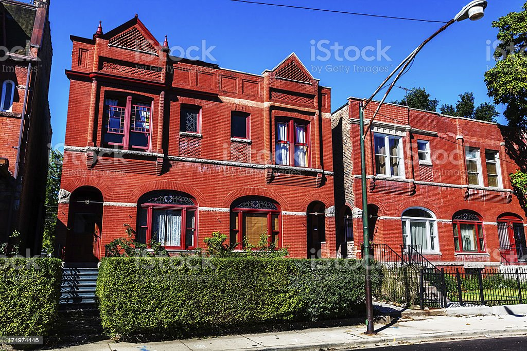 Vintage Victorian houses in Oakland,  Chicago royalty-free stock photo