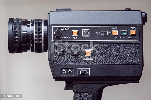Side view of retro camera