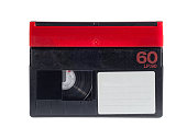 Close up of a vintage video tape on white background - Mini DV model