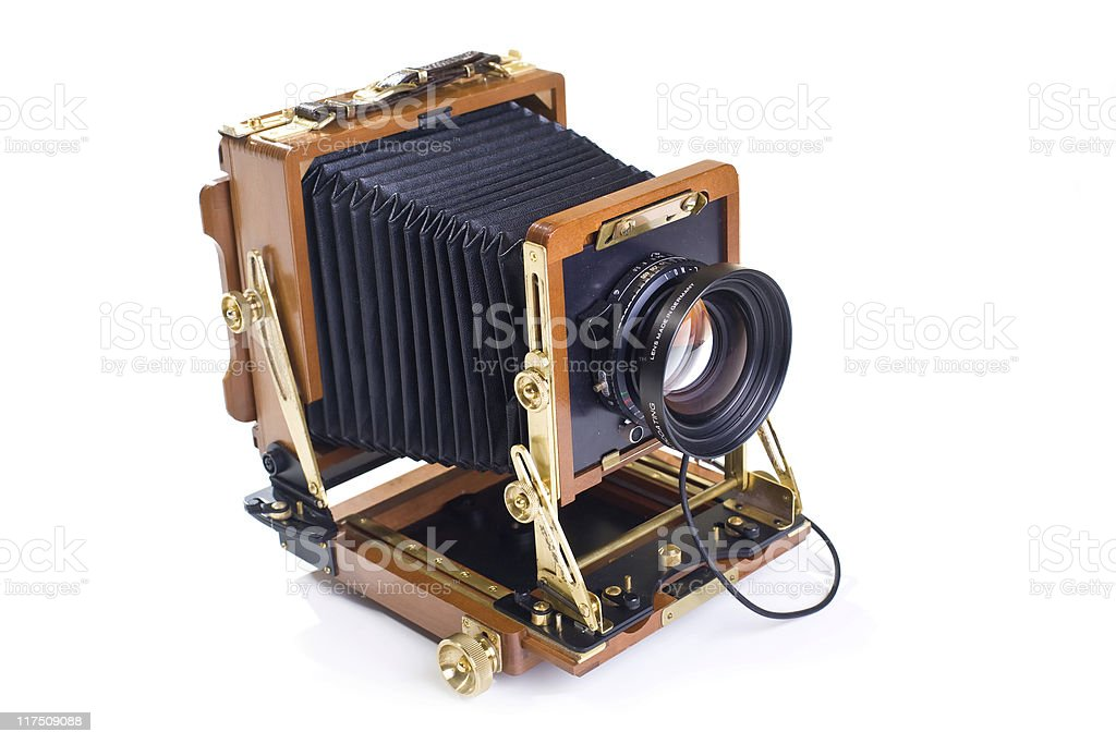 Vintage view camera isolated on white background stock photo