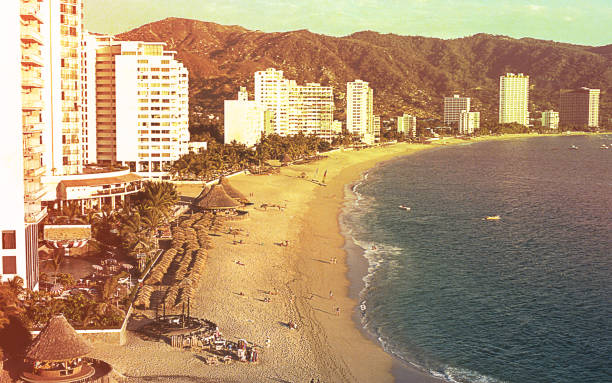 Vista vintage de Acapulco - foto de stock