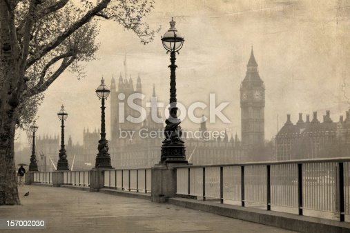 Vintage view of London,  Big Ben & Houses of Parliament, old sepia tone.