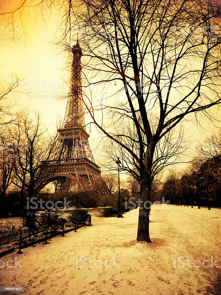 Vintage view of Tour Eiffel during a snow day royalty-free stock photo