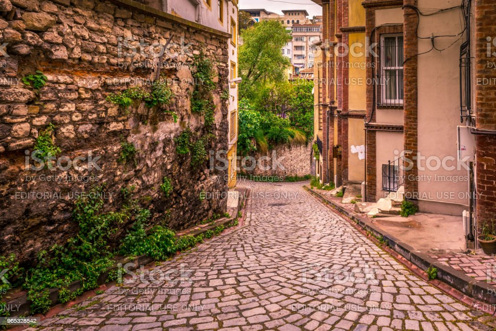 Vintage view of Traditional street and houses  at balat area royalty-free stock photo