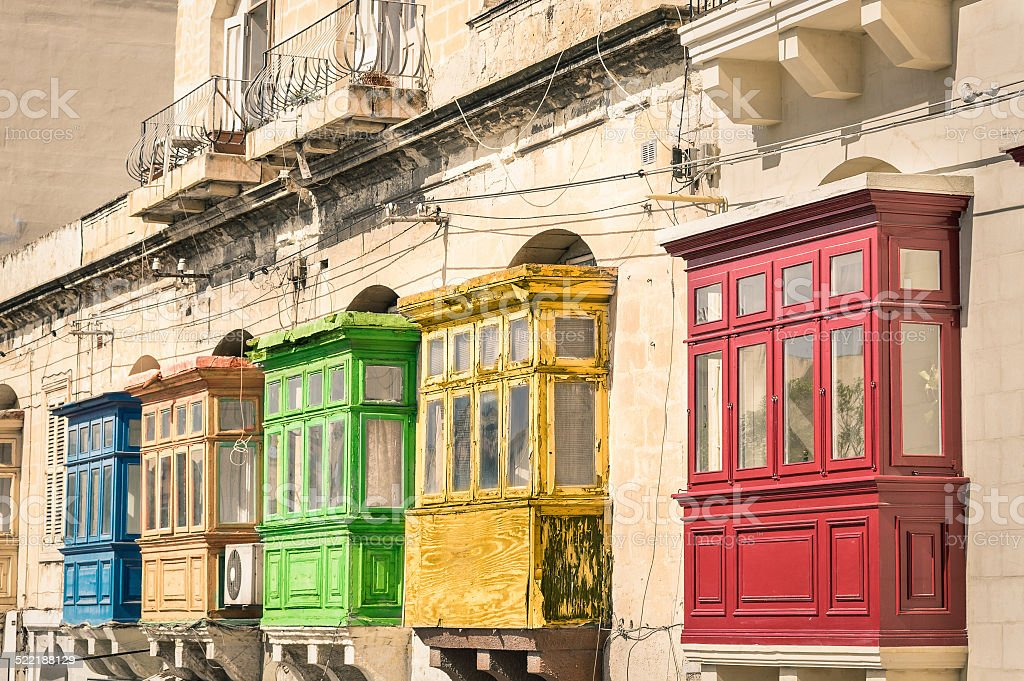 Vintage view of typical buildings balconies in La Valletta stock photo
