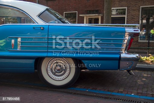 Medemblik, The netherlands - July 27,2014: Side view of a Oldsmobile eighty eight car 1958 on the annual oldtimer show in Medemblik
