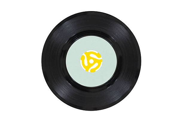 Vintage Vinyl Disk with Yellow Adapter stock photo