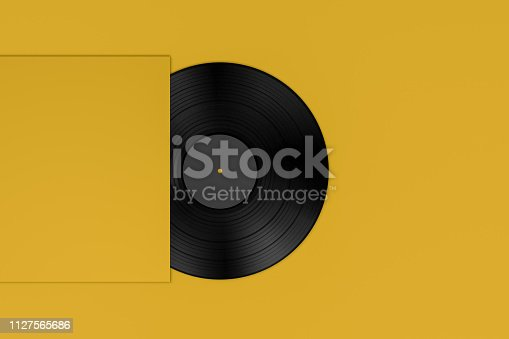 flat lay background, 3d rendering of retro vintage vinyl record.