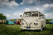 Heidelberg, Ontario / Canada - July 12, 2015: Bug Out 34 (2015) - KW & AREA BUG CLUB event featuring vintage Volkswagen beetles and a close up of a van