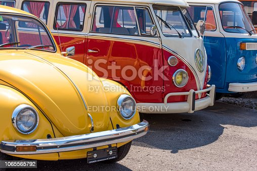 Lauerz (Canton of Schwyz), Switzerland - August 21, 2018: Old Wolkswagen cars renewal service (Extreme Cars) in Lauerz, Canton of Schwyz, Switzerland. Here, rash cars and minibuses are renewed and sold as second hand.