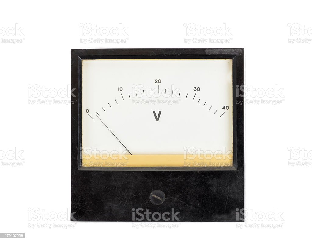Vintage voltage meter isolated on white stock photo