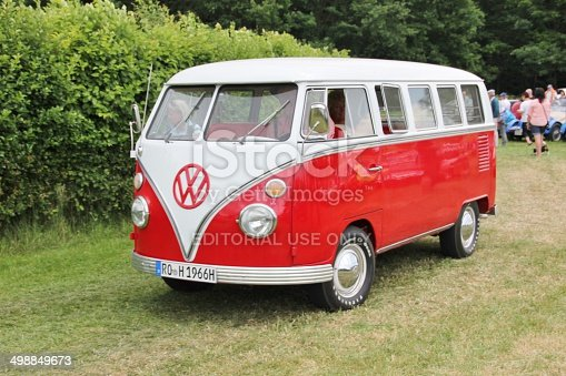 Bad Aibling, Germany - June 19, 2014: VW Bus T 1 classic car on Bavaria Historic meeting in Bad Aibling / Bavaria. Here is organized every year a vintage car rally. The visitors marvel at the beautiful cars.