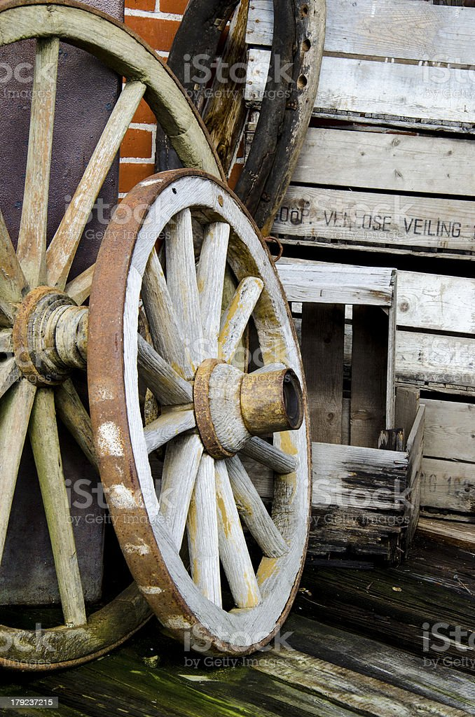 Vintage wagon wheels royalty-free stock photo