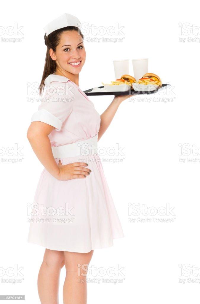 Vintage Waitress stock photo