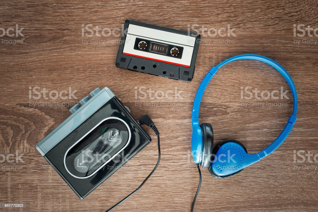 Vintage walkman, cassete and headphones. stock photo
