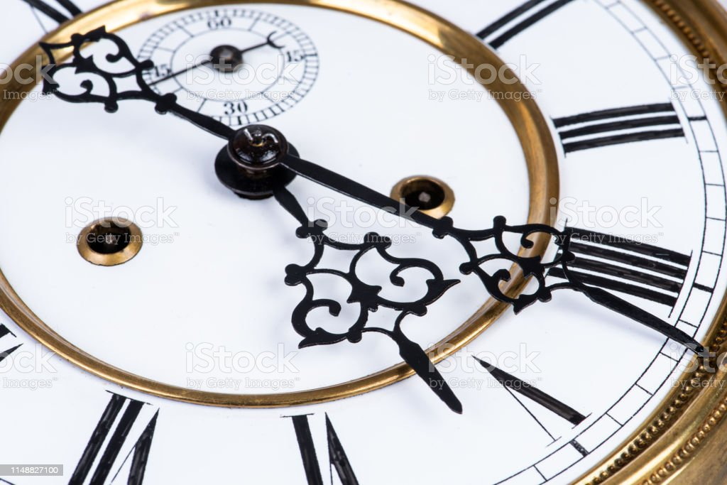 Vintage wall clock face close-up