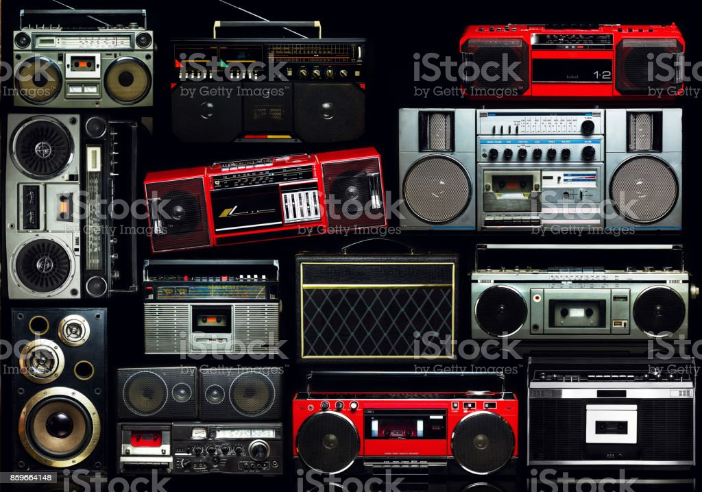 Vintage wall full of radio boombox of the 80s – zdjęcie