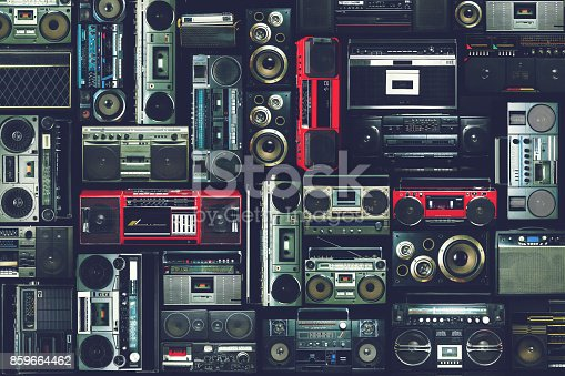 istock Vintage wall of radio boombox of the 80s 859664462
