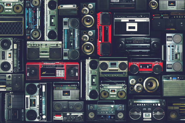Vintage wall of radio boombox of the 80s stock photo