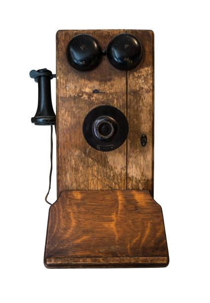 vintage wand telefon - mahagoni braun stock-fotos und bilder