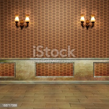 istock Vintage wall with sconces, paneling and wallpaper  153717335