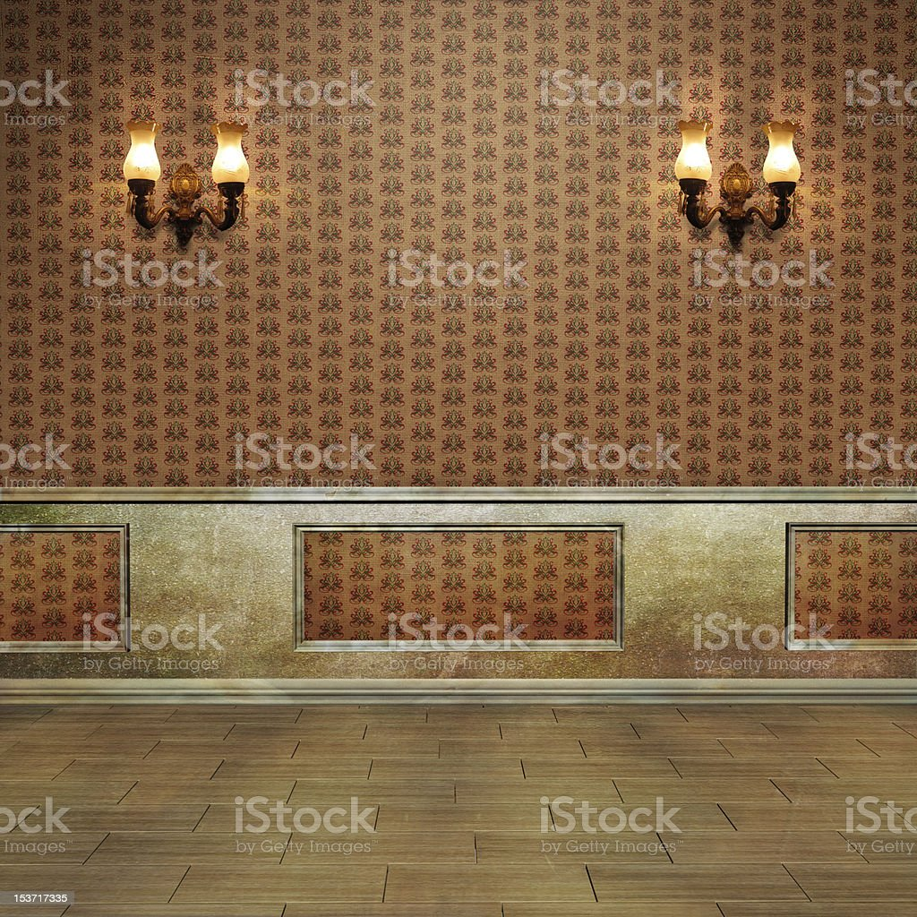 Vintage wall with sconces, paneling and wallpaper  stock photo