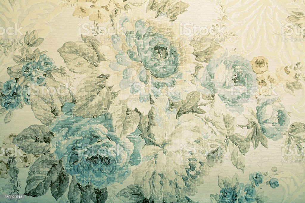 Vintage wallpaper with blue floral victorian pattern stock photo