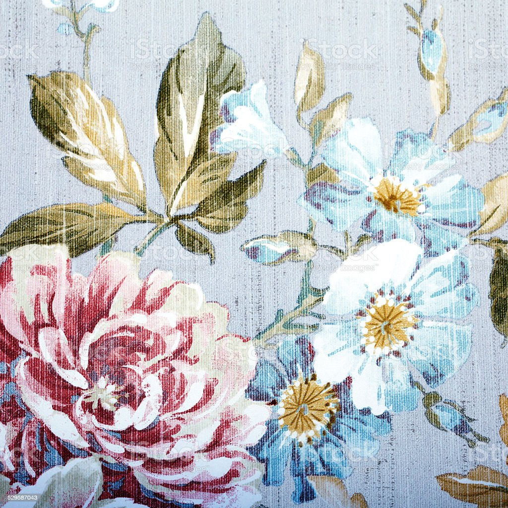 Vintage wallpaper with floral pattern stock photo